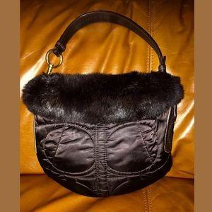 Coach H05K-3586 Rabbit Fur Coach Handbag Brown